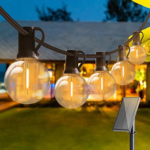 50FT Outdoor LED Garden String Lights Solar Powered, Bomcosy Waterproof G40 LED Bulb String Indoor/Outdoor Patio Lights, LED Bulbs 2700K Lights for Home, Terrace, Party, Christmas, Wedding, WarmWhite