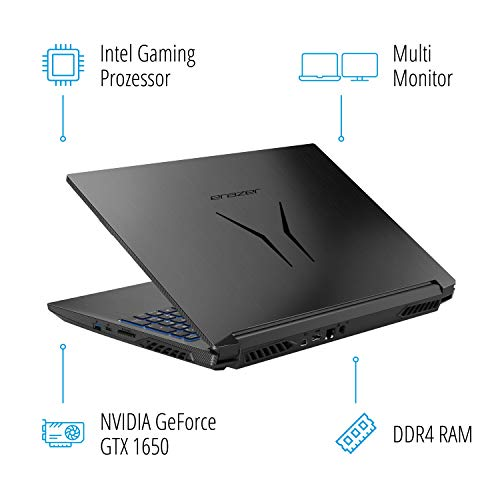 MEDION ERAZER P15609 39,6 cm (15,6 Zoll) Full HD Gaming Notebook (Intel Core i5-9300H, 16GB DDR4 RAM, 256GB PCIe SSD, 1TB HDD, NVIDIA GeForce GTX 1650 4GB GDDR5, Win 10 Home)