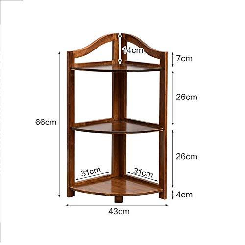 Librerie YANFEI, Bamboo Corner Bookshelf, Triangle Bamboo Frame, Shelf, Vintage Brown (Dimensioni : 43 * 31 * 66cm)
