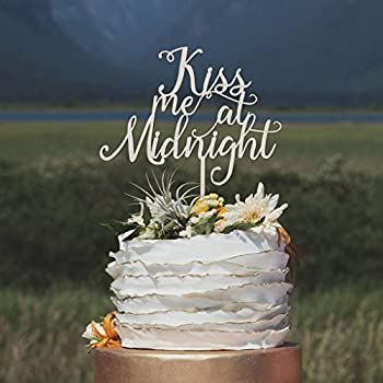 DKISEE Kiss me at Midnight Cake Topper Winter Wedding Cake Topper New Years Eve Wedding Christmas Wedding Cake Topper