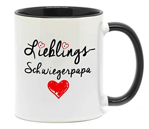 Nice-Presents-de Tasse Lieblings Schwiegerpapa Tasse, beidseitig Bedruckt. Die schönste Art wenn Man etwas zu Sagen hat. EIN tolles Geschenk für den Schwiegervater z.B. als Dankeschön. (A-Schwarz)