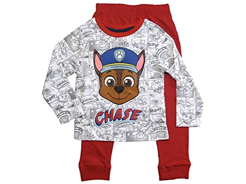 PAW PATROL Schlafanzug Jungen Pyjama Schlafanzug Lang (Rot-Grau, 128)