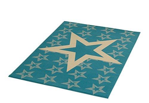 HANSE Home Design Velours Sterne Hellbau 140x200 cm Teppich, Polypropylen, hellblau Creme, 140 x 200 x 0.9 cm