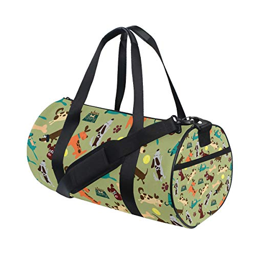 VIKKO Colorful Dog Best Friend Gym Duffel Bag Canvas Travel Weekender Luggage Handbag for Men Women Sports and Overnight