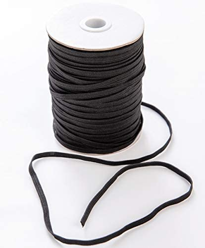 100 Yards Black Elastic Bands for Sewing 1 4 Width Heavy Stretch Roll Elastic Braided Flat Rope product image