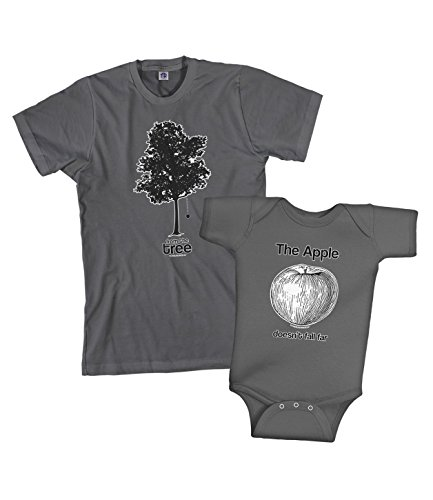 Threadrock Apple & Tree Infant Bodysuit and Men's T-Shirt Set (Baby: 6 Months, Charcoal|Men's: Medium, Charcoal)