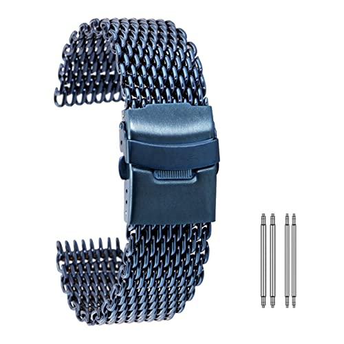 MSRRY Cinturino in maglia in acciaio inox 18/20/22/24mm fibbia pieghevole cinturino orologio oro rosa/blu cinturino (colore cinturino: blu, larghezza di banda: 18mm)