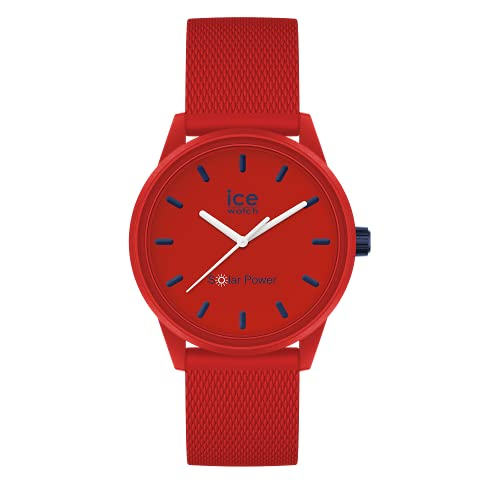ICE-WATCH - Ice Solar Power Red Navy Mesh Reloj con Correa de Silicona, Rojo para Mujer, Small, 018742