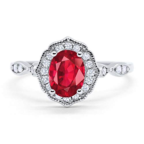 Blue Apple Co. Art Deco Antique Style Wedding Engagement Ring Oval Round Simulated Ruby 925 Sterling Silver, Size-8