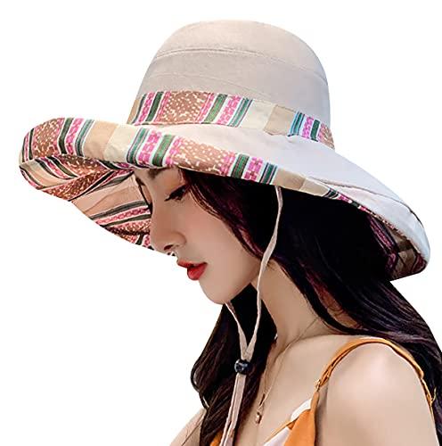 Sombrero Verano Mujeres Sombrero Mujer Sombrero ala Ancha Sombreros Baratos Protección UV UPF 50 Sombrero De Verano para Mujer Sombrero Impermeable Mujer Negro Sombrero Mujer Beige1 M