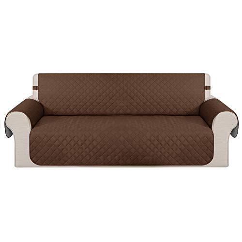 Deconovo Matelasse Canape 3 Places Antidérapant Brun pour Salon Couvre Motif Géométrique Sofa Protège Canapé Sofa Decor 173x190cm