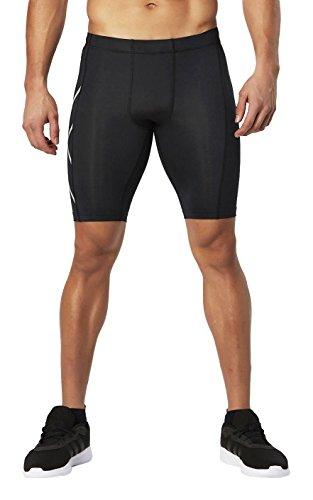 2XU Men's HYOPTIK Compression Shorts, Black/Silver Reflective, Medium