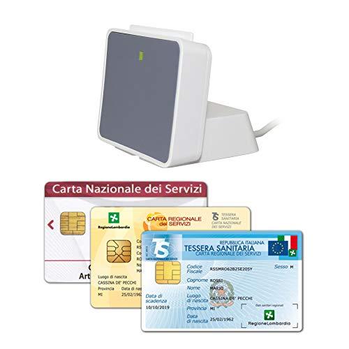 uTrust 2700 con Base Verticale - Lettore USB per Carta Nazionale e Regionale (CNS, CRS), Tessera Sanitaria, Codice Fiscale (TSN), Firma Digitale e Applicazioni con Smart Card