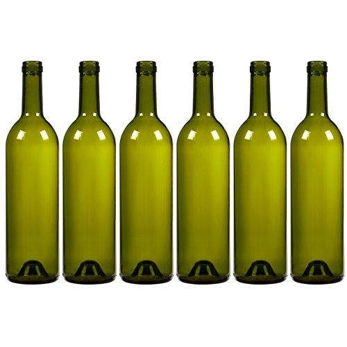 Paquete de 6 botellas de vino – botellas vacías Burdeos para elaboración casera, suministros de vino, verde