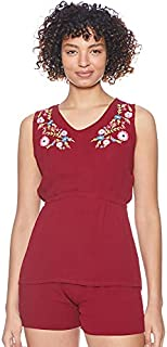 Yammamay Floral Embroidery Sleeveless Top with Elastic-Waist Shorts Pajama Set for Women L