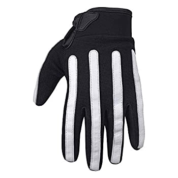 Viking Cycle Panache Premium Heavy Duty Textile/Synthetic Leather Touch Screen Motorcycle Riding Gloves For Men  Black/White Medium