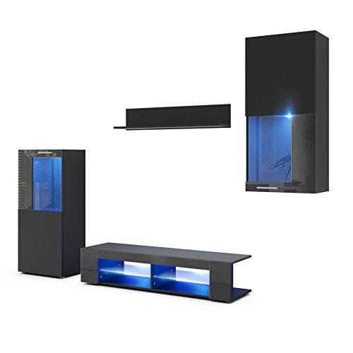 Wohnwand Anbauwand Movie, Korpus in Schwarz matt/Fronten in Schwarz matt und Schwarz Hochglanz mit Blauer LED Beleuchtung