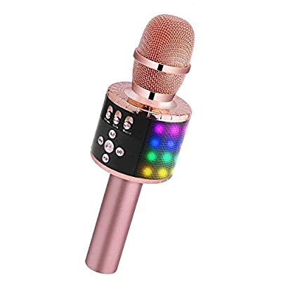 Wireless Bluetooth Karaoke Microphone with Multi-color LED Lights, 4 in 1 Portable Handheld Home Party Karaoke Speaker Machine for Android/iPhone/iPad/Sony/PC or All Smartphone(Rose Golden)