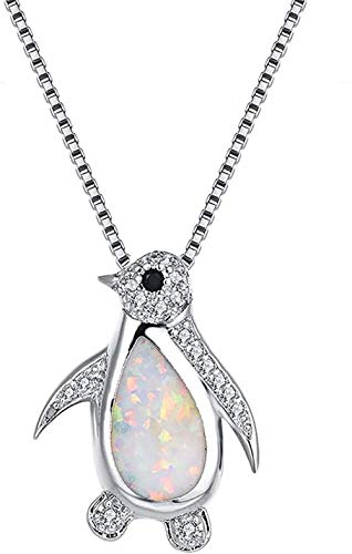 NC520 Women s Pendant Opal Necklace White Gold Plated Cute Penguin Valentine s Day Birthday Necklace Opal Fashion Jewelry