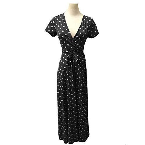 WDJYNL Jurk Vrouwen Zomer Vintage Polka Dots Maxi Jurk Vrouwelijke Korte Mouw Lace Up Bandage V Neck Jurken