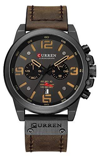 CURREN Luxury Brand Men Military Stopwatch Waterproof Leather Chronograph Watch Mens Fashion Quartz Watch (Coffee Color)