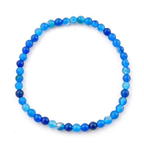 ARITZI - Pulsera elástica de Bolas de 4 mm en Mineral Natural de Ágata Azul