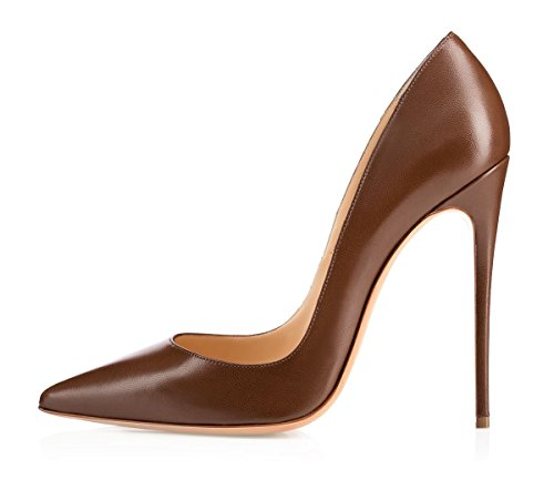 EDEFS Damen High Heels 12cm Pumps Sexy Stiletto Slip On Pumps Braun Größe EU38