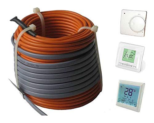 Fußbodenheizung Elektro lose Heizleitung Temperaturregler TWIN Technik 1-20 qm, inkl. Regler - nur 3-4 mm Aufbauhöhe, Regler:Nr 510 (Komfort-Regler), Länge Heizleitung:18 m