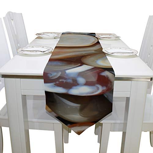Yushg Natur Poliert Farbige Steine Kommode Schal Tuch Abdeckung Tischläufer Tischdecke Tischset Küche Esszimmer Wohnzimmer Home Hochzeit Bankett Dekor Innen 13x90 Zoll
