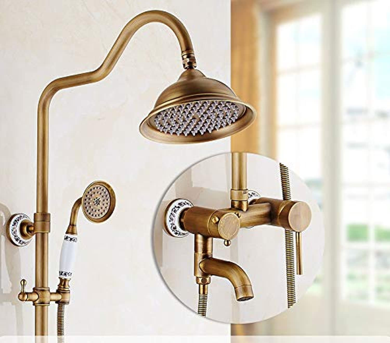 Hlluya Professional Sink Mixer Tap Kitchen Faucet The copper shower set color bathroom waterfall shower, hot and cold water tap.