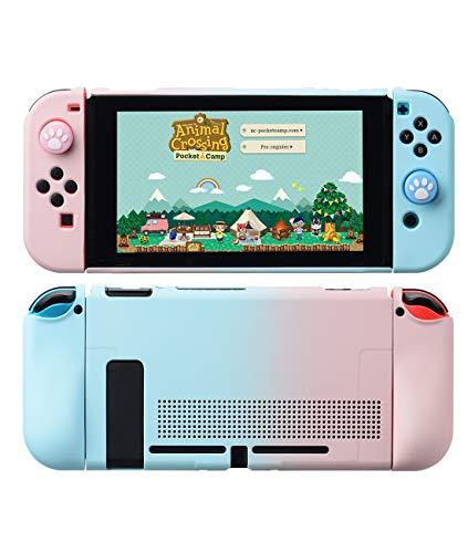 VOGOUL Schutzhülle für Nintendo Switch, Hülle mit stabilem, kratzfestem, stoßfestem Cover Shell Split Design Soft Zubehör für Nintendo Switch Konsole (Rosa Blau Gradient)
