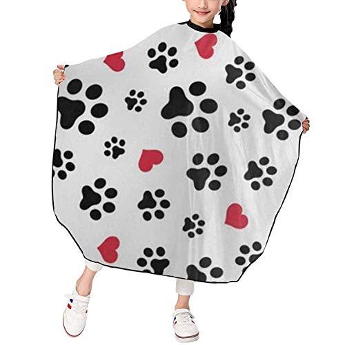 Love Cat Paw Heart Puppy Foot Print Capa de corte de pelo para niños Capa de peluquería Capa de peluquero Cubierta impermeable Delantal de peluquería para niños Delantal de corte de pelo largo 39