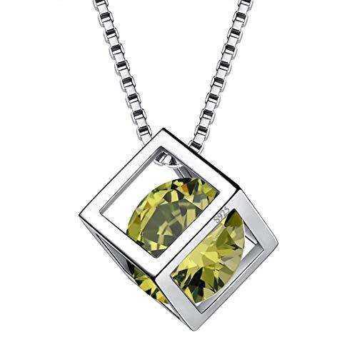 AuroraTears August Birthstone Halskette 925 Sterling Silber Grün Peridot Quadrat Geburtsstein Anhänger Schmuck Geschenke für Frauen und Mädchen DP0028A