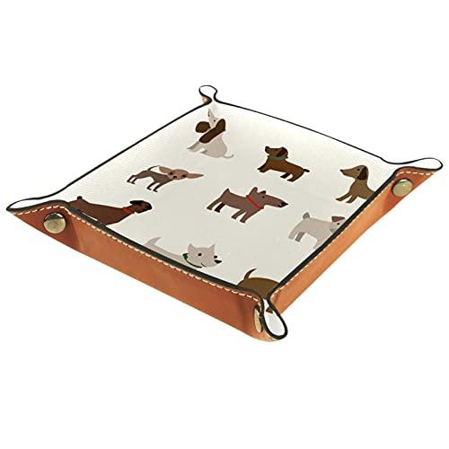 Lovely Puppy Collection-01 Valet Tray Cuero para hombres Key Wallet monedero