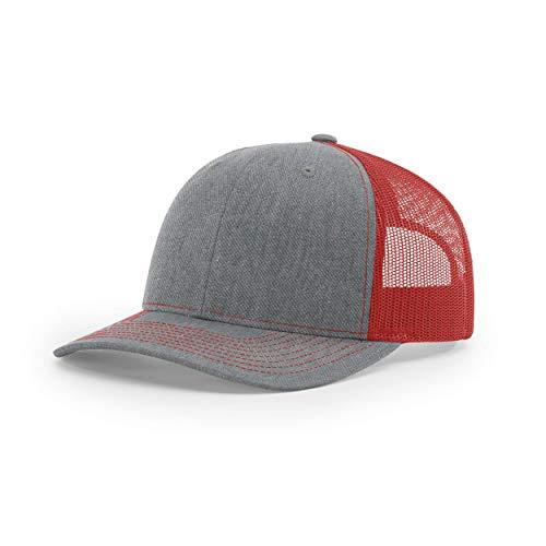 Richardson Unisex 112 Trucker Adjustable Snapback Baseball Cap, Split Heather Grey/Red, One Size Fits Most