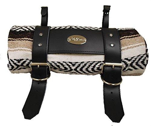 LaRosa Design Mexican Brown Serape Roll-Up Blanket W/Special La Rosa Black Leather Strap,