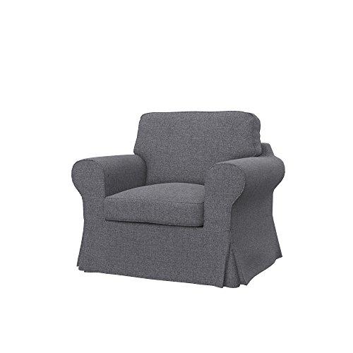 Soferia Ersatzbezug fur IKEA EKTORP Sessel, Stoff Naturel Grey, Grau