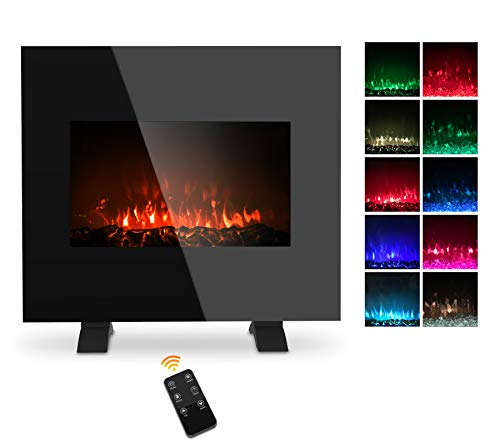 26 Inch Electric Fireplace Wall Mounted, 1500W Freestanding Fireplace Heater with Remote Control 5 Flame Settings Colorful Flame Option, Temperature Adjustable