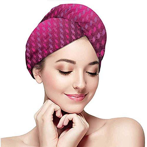 Archiba Trockenes Haar Handtuch trockenes Haar Kappe, Magenta, abstrakte gestreifte psychedelische Motiv Mode Farbverlauf Retro strukturierte Gitterkunst, Taffy Rouge