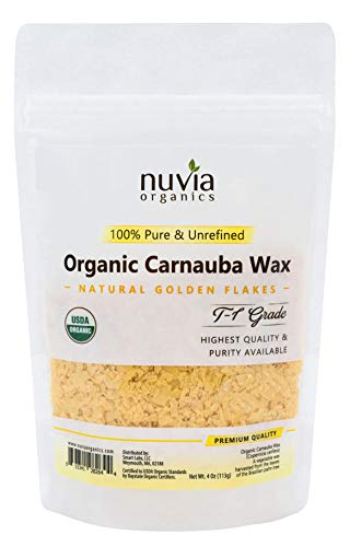 Nuvia Organics USDA Certified Carnauba Wax, 100% Vegan, Sustainably Harvested - Great for DIY Cosmetics, Food Grade, Various Uses, 4 Oz