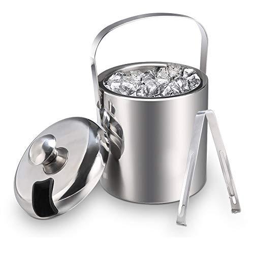 Secchiello ghiaccio in acciaio inox con coperchio e pinze – Secchio portaghiaccio Acciaio Inossidabile Spesso da barman con doppia pareti isolanti, ideale per bar e a casa (1,3 litri)