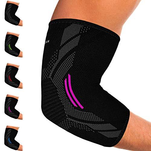 Kinetic Evolution Ellenbogenbandage für Damen und Herren, Sport Kompression, Atmungsaktiv, stabilisiert und unterstützt, Sportbandage für Tennis Voleyball Golf Handball (L, Pink)