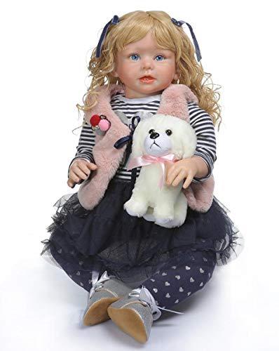 TERABITHIA 28 Zoll 70 cm So Wirklich Ändern Kleidung Lange Lockige Blonde Haare Neugeborene Puppe Echte Sanfte Berührung Silikon Reborn Kleinkind Mädchen Puppen, Die Realistisch Aussehen