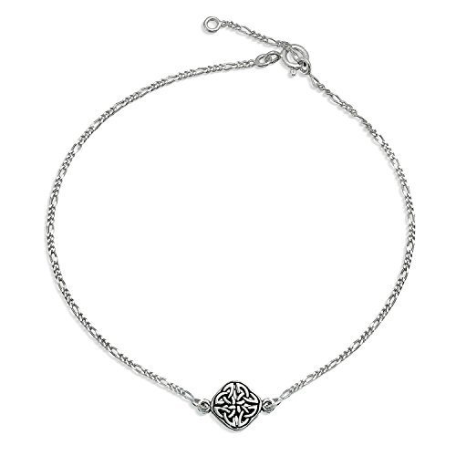 Celtic Love Knot Triquetra Round Shape Knotwork Anklet Ankle Bracelet For Women 925 Sterling Silver 9-10 Inch