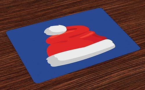 ABAKUHAUS Kerstmis- Placemat Set van 4, Eenvoudige Hoed van de Kerstman, Wasbare Stoffen Placemat voor Eettafel, Violet Blue Vermilion