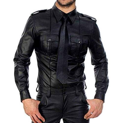 S-XXXLHombres Allure Leather Uniform Punk Style Tight Plus Size Casual Manga Larga Solapa Gay Club Camisas Juegos de rol Disfraces Tops,Negro,XXL