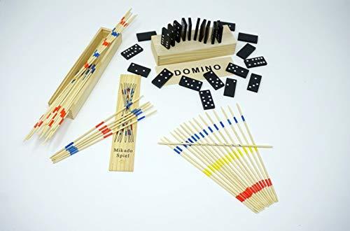 Set van 2 houten spelletjes Mikado en Domino 2 stuks, in praktische houten kist met handleiding (mogelijk niet beschikbaar in het Nederlands) (incl. Mini's – verrassing) | logisch denken | bevordert de motoriek | spaarset