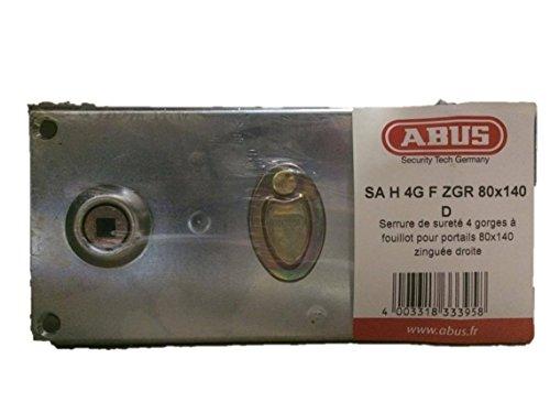 Abus FF0924127A H 4G F ZGR D Wandslot, met horizontale handgreep en sleutel, voor opening buiten rechts, 80 x 140 cm, thermisch verzinkt, 0026317, zwart
