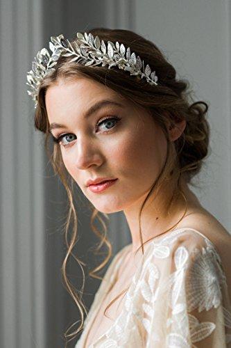 kercisbeauty Vintage barok baroco stijl Oliver tak zilver rond sieraden bruidssieraden tiara bruiloft kroon, met strass parels oorbellen kruis voor bruid of bruidsmeisjes, feestelijk