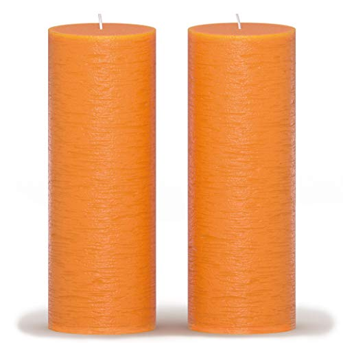 CANDWAX 3x8 Pillar Candle Set of 2 - Decorative Candles Unscented and No Drip Candles - Ideal as Wedding Candles or Large Candles for Home Interior - Orange Candles